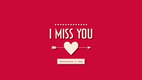 Animated-closeup-I-Miss-You-text-and-motion-romantic-big-heart-and-arrow-on-red-Valentines-day-background