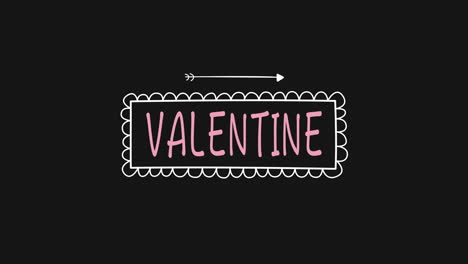 Animated-closeup-Valentine-text-and-motion-romantic-arrow-on-Valentines-day-background