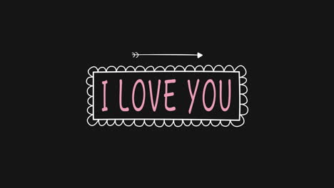 Animated-closeup-I-Love-You-text-and-motion-romantic-arrow-on-Valentines-day-background