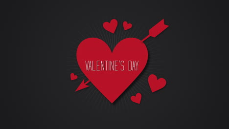 Animated-closeup-Valentines-Day-text-and-motion-romantic-big-and-small-red-hearts-with-arrow-on-Valentines-day-background