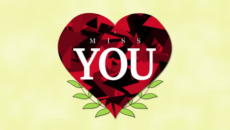 Animated-closeup-I-Miss-You-text-and-motion-romantic-big-red-hearts-and-flowers-on-Valentines-day-background