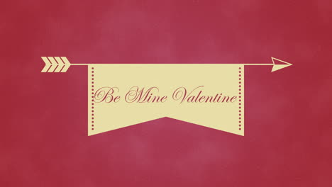 Animated-closeup-Be-Mine-Valentines-text-and-motion-arrow-on-Valentines-day-background