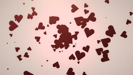 Animation-closeup-motion-small-romantic-hearts-on-pink-Valentines-day-shiny-background-
