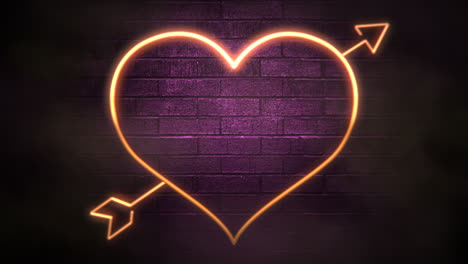 Animation-closeup-motion-big-neon-romantic-heart-and-arrow-on-wall-background-Valentines-day-holiday