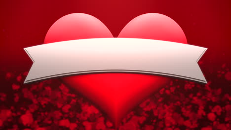 Animation-closeup-motion-big-romantic-heart-and-small-on-red-Valentines-day-background-