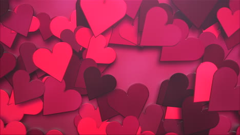 Animation-closeup-motion-small-romantic-hearts-pattern-on-red-Valentines-day-shiny-background-