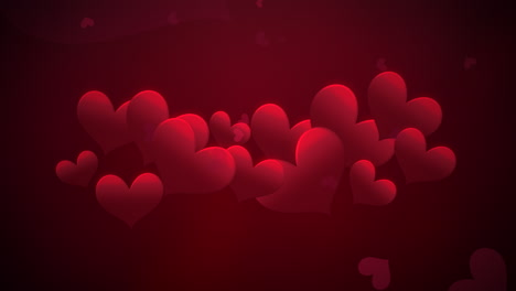 Animation-closeup-motion-small-romantic-hearts-with-abstract-lines-on-red-Valentines-day-shiny-background-