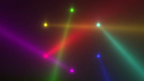 Animation-motion-colorful-glowing-spotlight-beams-on-dark-background-in-stage