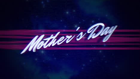 Animation-text-Mother-Day-and-retro-abstract-lines-and-stars-in-galaxy-holiday-background
