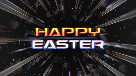 Animation-text-Happy-Easter-and-motion-abstract-lines-in-galaxy-retro-background