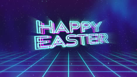 Animation-text-Happy-Easter-and-retro-abstract-grid-in-galaxy-holiday-background