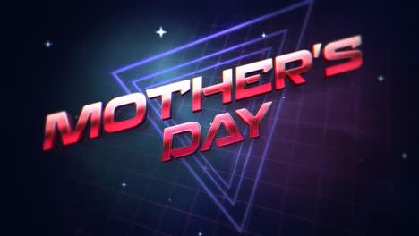 Animación-Texto-Día-De-La-Madre-Y-Triángulos-Abstractos-Retro-Sobre-Fondo-Retro-En-Estilo-90