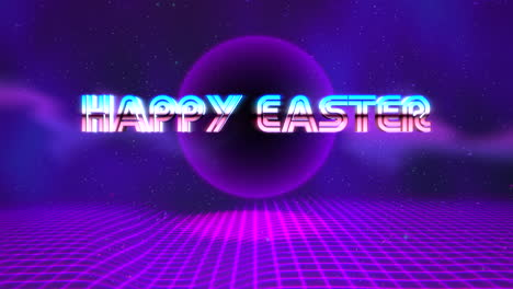 Animation-text-Happy-Easter-and-purple-disco-ball-on-retro-background-in-90-style