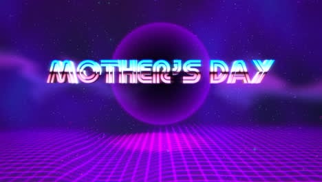 Animation-text-Mother-Day-and-purple-disco-ball-on-retro-background-in-90-style