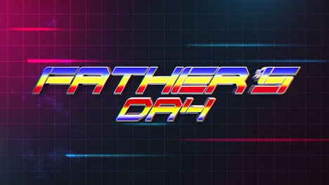 Animation-text-Fathers-day-and-motion-abstract-lines-on-grid-map-retro-holiday-background