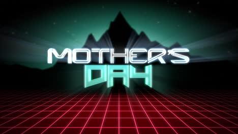 Animación-Texto-Día-De-La-Madre-Con-Montaña-Y-Rejilla-Roja-Puesta-De-Sol-Fondo-Retro