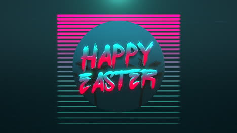 Animation-text-Happy-Easter-and-retro-tropic-palms-background-in-90-style