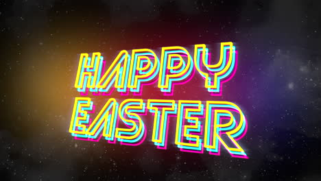 Animation-text-Happy-Easter-and-abstract-stars-in-galaxy-holiday-background