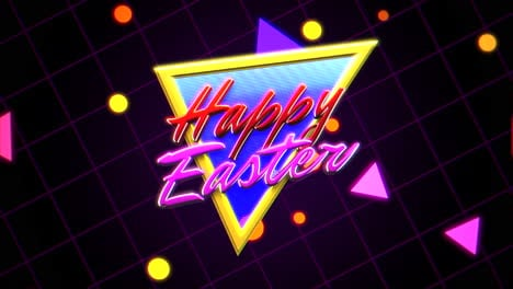 Animation-text-Happy-Easter-and-retro-abstract-triangles-on-retro-background-in-90-style