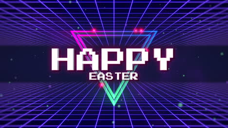 Animation-text-Happy-Easter-and-retro-abstract-triangle-on-retro-grid-background