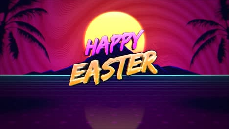 Animation-text-Happy-Easter-and-mountain-with-tropic-palms-and-sun-retro-background