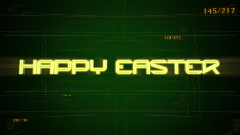 Animation-text-Happy-Easter-and-cyberpunk-animation-background-with-computer-matrix-and-numbers