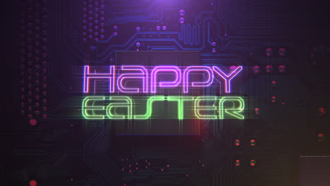 Animation-text-Happy-Easter-and-cyberpunk-animation-background-with-computer-chip-and-neon-lights-3