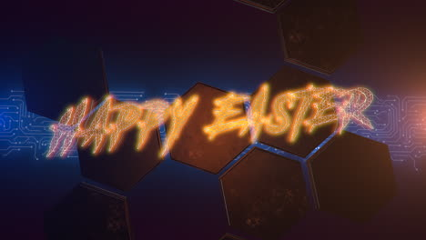 Animation-text-Happy-Easter-and-cyberpunk-animation-background-with-computer-matrix-numbers-and-hexagons