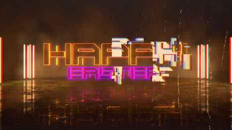 Animation-text-Happy-Easter-and-cyberpunk-animation-background-with-neon-lights-on-wall-of-city-1