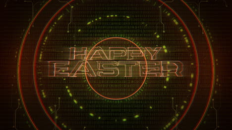 Animation-text-Happy-Easter-and-cyberpunk-animation-background-with-computer-matrix-numbers-and-circles