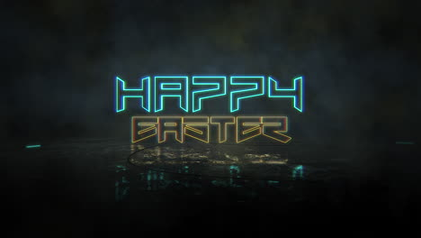 Animation-text-Happy-Easter-and-cyberpunk-animation-background-with-neon-lights