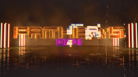 Animation-text-Fathers-day-and-cyberpunk-animation-background-with-neon-lights-on-wall-of-city-1