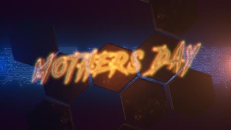 Texto-De-Animación-Día-De-La-Madre-Y-Fondo-De-Animación-Cyberpunk-Con-Números-De-Matriz-De-Computadora-Y-Hexágonos