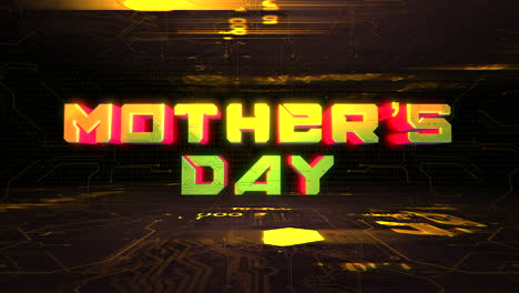 Animation-text-Mother-Day-and-cyberpunk-animation-background-with-computer-chip-and-neon-lights