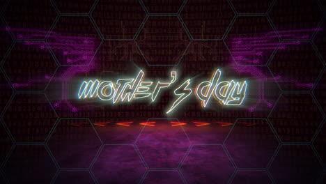 Texto-De-Animación-Día-De-La-Madre-Y-Fondo-De-Animación-Cyberpunk-Con-Números-De-Matriz-De-Computadora-Y-Cuadrícula-2