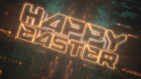 Animation-text-Happy-Easter-and-cyberpunk-animation-background-with-computer-chip-and-neon-lights