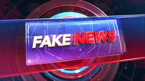 Animationstext-Fake-News-Und-News-Intro-Grafik-Mit-Kreisen-Und-Weltkarte-Im-Studio-Abstrakten-Hintergrund