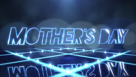 Animation-text-Mother-Day-and-motion-blue-neon-lights-on-stage-abstract-background