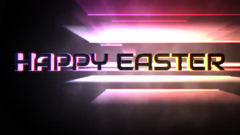 Animation-text-Happy-Easter-and-motion-colorful-neon-lines-abstract-background