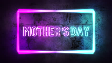 Animation-text-Mother-Day-and-purple-neon-lights-on-wall-abstract-background