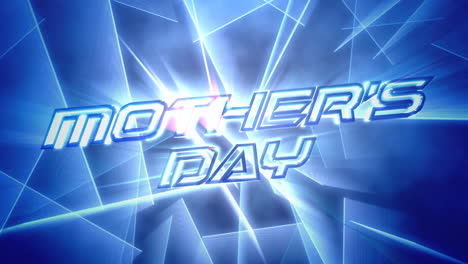 Animation-text-Mother-Day-and-motion-blue-neon-lines-abstract-background
