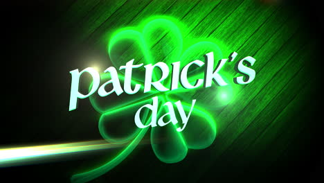 Animation-closeup-Patricks-Day-text-and-motion-big-neon-green-shamrock-on-wood-background
