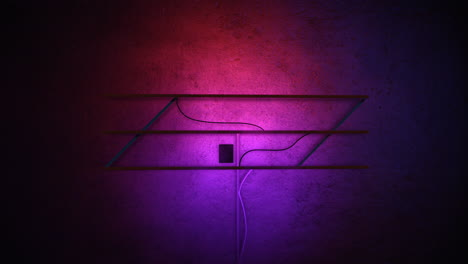 Animation-motion-camera-and-glowing-neon-lights-on-wall-background-in-club