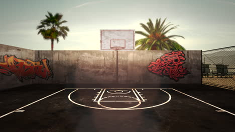 Panorama-of-city-landscape-with-empty-basketball-court-and-many-palms-in-park-sunset-summer-day
