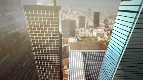 Panorama-Der-Stadtlandschaft-Mit-Vielen-Großen-Gebäuden-Und-Straßen-Am-Sommertag
