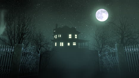 Mystical-horror-background-with-the-house-and-moon-abstract-backdrop