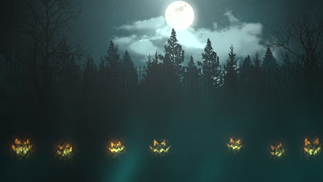 Halloween-background-animation-with-the-forest-and-pumpkins-abstract-backdrop