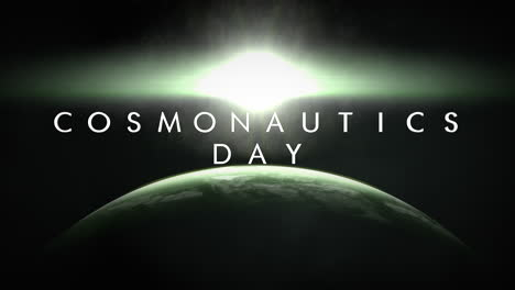 Animation-closeup-Cosmonautics-Day-text-with-cinematic-motion-planet-and-light-of-comet-in-galaxy