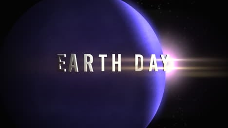 Animation-closeup-Earth-Day-text-with-motion-planet-and-light-of-stars-in-galaxy