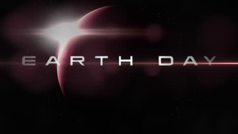 Animation-closeup-Earth-Day-text-with-motion-planet-and-light-of-star-in-galaxy